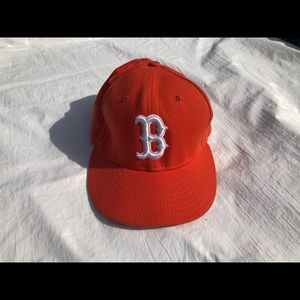 New Era Orange Boston Red Sox Fitted Hat, Size 8